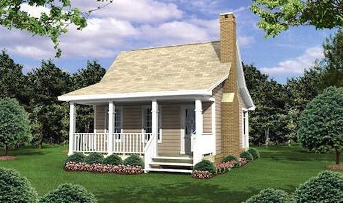 Kis családi ház 40 m2 homlokzata